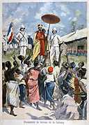 Proclamation of the new King of Dahomey, Agloliagbo (formerly Gouthili).  Dahomey, now Republic of Benin, was a French protectorate.  From 'Le Petit Journal', Paris, 19 February 1894. France, Colonialism, Africa