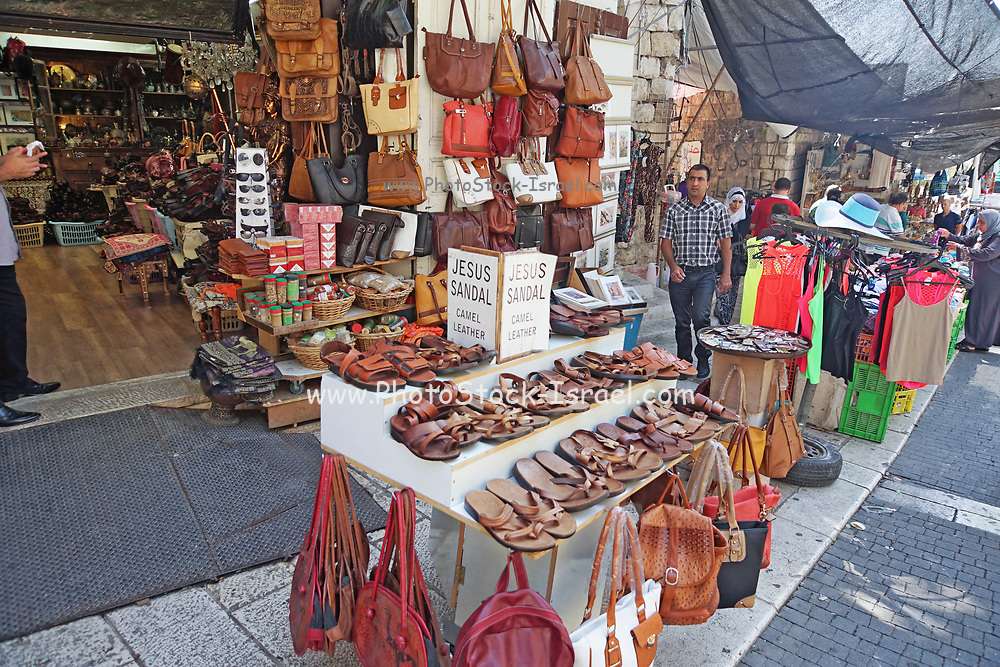 Tourist souvenirs for sale at the market in Nazareth, Israel