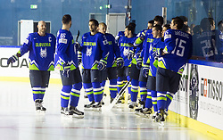 Jan Mursak of Slovenia, Sabahudin Kovacevic of Slovenia, David Rodman of Slovenia and other players before Official photo session of Team Slovenia at the 2017 IIHF Men's World Championship, on May 11, 2017 in AccorHotels Arena in Paris, France. Photo by Vid Ponikvar / Sportida