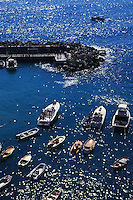 2000, Cinque Terre, Italy --- Anchored Boats in Harbor --- Image by © Owen Franken/CORBIS