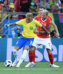 ROSTOV-ON-DON, June 17, 2018  Neymar (L) of Brazil vies with Valon Behrami of Switzerland during a group E match between Brazil and Switzerland at the 2018 FIFA World Cup in Rostov-on-Don, Russia, June 17, 2018. (Credit Image: © Li Ga/Xinhua via ZUMA Wire)