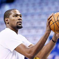 06 May 2016: Oklahoma City Thunder forward Kevin Durant (35) warms up prior to the San Antonio Spurs 100-96 victory over the Oklahoma City Thunder, during Game Three of the Western Conference Semifinals of the NBA Playoffs at the Chesapeake Energy Arena, Oklahoma City, Oklahoma, USA.