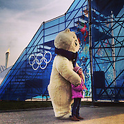 Children pose with an Olympic mascot bear on Thursday, Feb. 20, 2014. Sochigrams during the Winter Olympics in Sochi, Russia with an iPhone and Instagram. (Brian Cassella/Chicago Tribune) B583527420Z.1 <br /> ....OUTSIDE TRIBUNE CO.- NO MAGS,  NO SALES, NO INTERNET, NO TV, CHICAGO OUT, NO DIGITAL MANIPULATION...