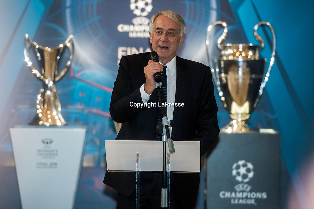 22-04-2016 Milan, Italy.<br /> Opening of the exhibition of the UEFA Champions League Cup at Palazzo Marino.<br /> Photo credit: Cruciatti / LaPresse<br /> In the Photo: Giuliano Pisapia