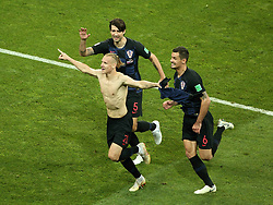 July 7, 2018 - Sochi, Russia - July 07, 2018, Sochi, FIFA World Cup 2018, the playoff round. 1/4 finals of the World Cup. Football match Russia - Croatia at the stadium Fisht. Player of the national team Domagoj Vida  (Credit Image: © Russian Look via ZUMA Wire)