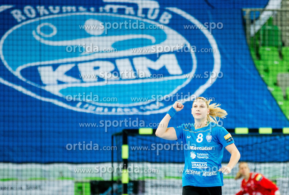 Tamara Mavsar #8 of RK Krim Mercator during handball match between RK Krim Mercator (SLO) and HC Leipzig (GER) in 6th Round of Women's EHF Champions League 2014/15, on November 21, 2014 in Arena Stozice, Ljubljana, Slovenia. Photo by Vid Ponikvar / Sportida