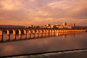 Harrisburg, Pennsylvania Skyline, Susquehanna River, Railroad Arches, Sunset
