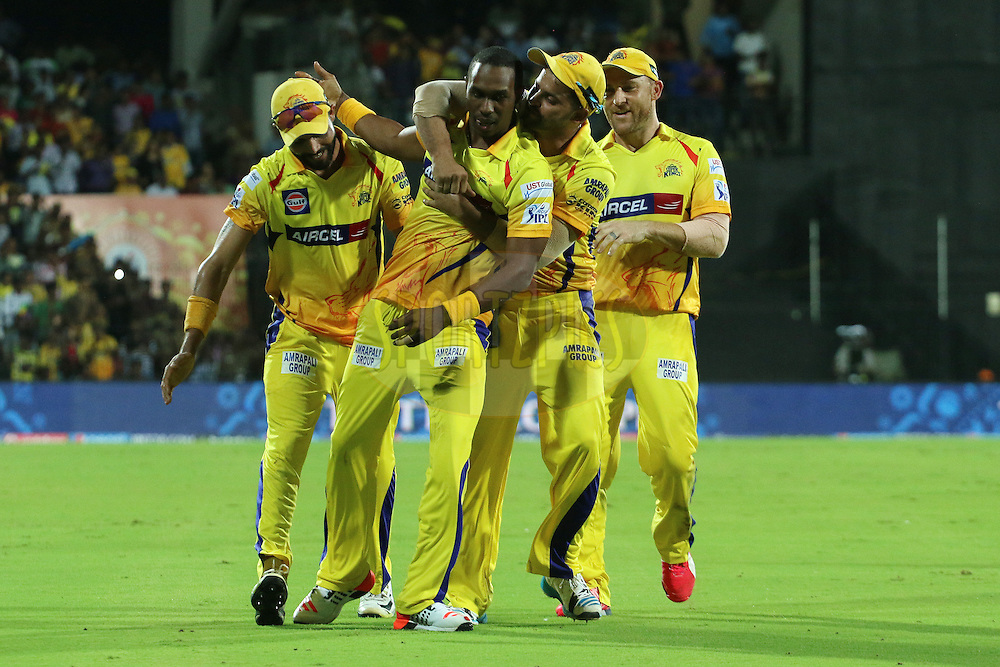 Dwayne Bravo of the Chennai Superkings celebrates the wicket of Suryakumar Yadav of the Kolkata Knight Riders with Suresh Raina of the Chennai Superkings, Brendon McCullum of the Chennai Superkings and Ravindra Jadeja of the Chennai Superkings  during match 28 of the Pepsi IPL 2015 (Indian Premier League) between The Chennai Superkings and The Kolkata Knight Riders held at the M. A. Chidambaram Stadium, Chennai Stadium in Chennai, India on the 28th April 2015.<br /> <br /> Photo by:  Ron Gaunt / SPORTZPICS / IPL