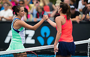 Viktoria Kuzmova of Slovakia and Julia Goerges of Germany at the net after the first round of the 2020 Australian Open, WTA Grand Slam tennis tournament on January 20, 2020 at Melbourne Park in Melbourne, Australia - Photo Rob Prange / Spain ProSportsImages / DPPI / ProSportsImages / DPPI