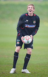 SWANSEA, WALES - Monday, March 30, 2009: Wales' Under-21 Joe Partington training at the Glamorgan Health & Racquets Club ahead of the UEFA Under-21 Championship Qualifying group 3 match. (Photo by David Rawcliffe/Propaganda)