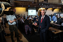 © Licensed to London News Pictures. 31/05/2017. Cambridge, UK. Secretary of State for Exiting the European Union DAVID DAVIS (R) is interviewed in the spin room ahead of the BBC General Election Debate. Photo credit: Rob Pinney/LNP