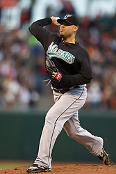 July 26, 2010; San Francisco, CA, USA;  Florida Marlins starting pitcher Ricky Nolasco (47) pitches against the San Francisco Giants during the first inning at AT&T Park.