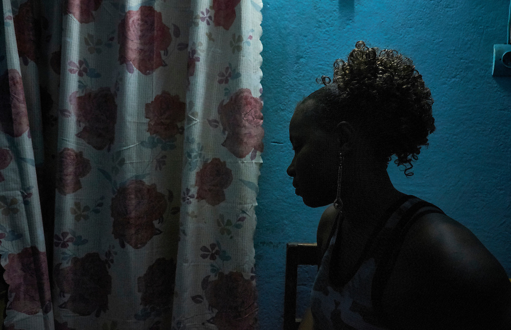 Sex worker Diaby at a brothel in Conakry, Guinea on March 19, 2016. MSF works in collaboration with partner Fraternit&eacute; M&eacute;dicale Guinea (FMG), an NGO that has developed strong ties in the community of sex workers. The NGO's work involves visits to sites of sex workers and counselling and referrals to medical centres in cases of health problems MSF launched a HIV testing campaign with FMG to reach this key population group. The program was undertaken in Conakry with the support of health authorities moving throughout several neighbourhoods throughout 2016. <br /> <br /> &quot;I was born in Conakry and have 3 children who are fourteen, eleven and nine years old. My husband died in He was a truck driver. I couldn't afford for my kids to go to school or general daily expenses so I started to work here. I worked as a hairdresser and through my clients started doing this. The work I do here is very hard because some of the clients who come here are violent in their manner of having sex with us. We see up to 25 clients per day, they pay 15,000 GFA (less than 2 euros). Before I had heard about HIV and AIDS at the hospital and on TV but it was only with the campaign that I was brave enough to be tested. I was made aware of the importance of using condoms to protect myself from contracting HIV. I have a boyfriend who every month makes us have the test together, he beat me so I would stop doing this work. He is married to someone else but doesn&rsquo;t give me enough money to survive so I have to do this work also.&quot;<br /> <br /> <br /> Despite countries in West and Central Africa having a relatively low HIV prevalence (