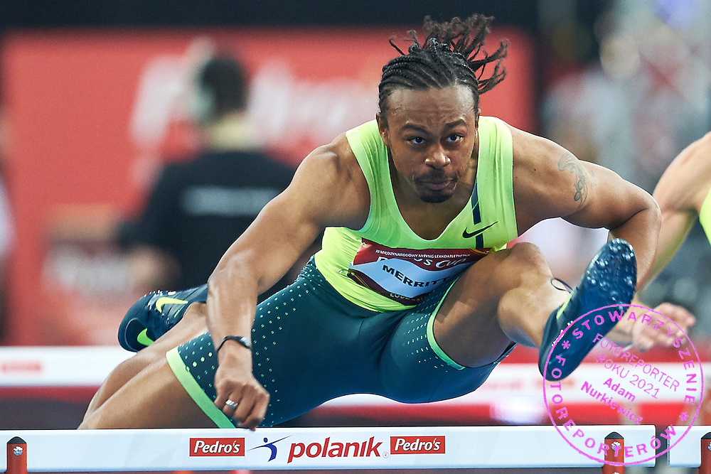 Aries Merritt from USA competes in men's 60 meters hurdles competition during athletics meeting Pedro's Cup at Atlas Arena in Lodz, Poland.<br /> <br /> Poland, Lodz, February 17, 2015<br /> <br /> Picture also available in RAW (NEF) or TIFF format on special request.<br /> <br /> For editorial use only. Any commercial or promotional use requires permission.<br /> <br /> Adam Nurkiewicz declares that he has no rights to the image of people at the photographs of his authorship.<br /> <br /> Mandatory credit:<br /> Photo by &copy; Adam Nurkiewicz / Mediasport