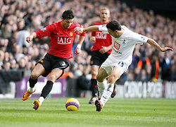 LONDON, ENGLAND - Saturday, February 2, 2008: Tottenham Hotspur's Steed Malbranque and Manchester United's Cristiano Ronaldo during the Premiership match at White Hart Lane. (Photo by Chris Ratcliffe/Propaganda)