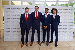 CARDIFF, WALES - Wednesday, June 1, 2016: Ben Davies, goalkeeper Daniel Ward, Tyler Roberts and Ethan Ampadu wearing T.M. Lewin suits before a charity send-off gala dinner at the Vale Resort Hotel ahead of the UEFA Euro 2016. (Pic by David Rawcliffe/Propaganda)