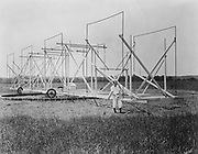 Karl Guthe Jansky (1905-50) American radio astronomer, at Holmdel, New Jersey,  with his directional radio aerial system, the precursor of today's radio telescopes.