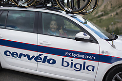 Cecilie Uttrup Ludwig (DEN) of Cervélo-Bigla Cycling Team pulls a funny face on the way to the team hotel after La Course 2017 - a 67.5 km road race, from Briancon to Izoard on July 20, 2017, in Hautes-Alpes, France. (Photo by Balint Hamvas/Velofocus.com)