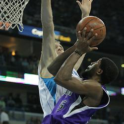 20 December 2008:  Sacramento Kings forward John Salmons (15) shoots over New Orleans Hornets forward Sean Marks (4) during a NBA regular season game between the Sacramento Kings and the New Orleans Hornets at the New Orleans Arena in New Orleans, LA. .