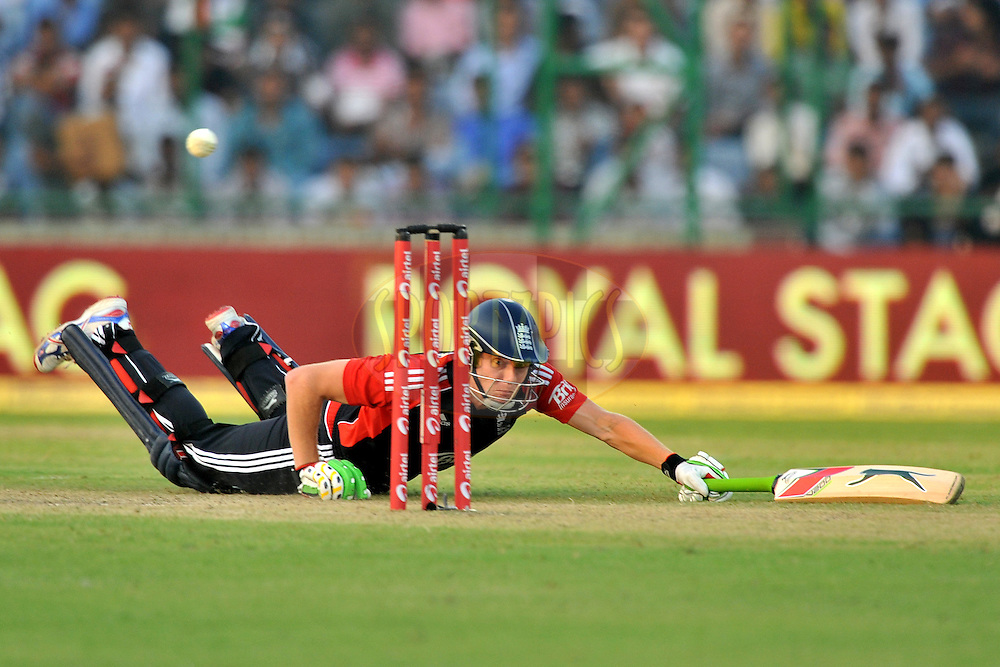 Jonny Bairstow of England dives to make it to the crease during the 2nd One Day International ( ODI ) match between India and England held at the The Feroz Shah Kotla Stadium, Delhi on the 17th October 2011..Photo by Pal Pillai/BCCI/SPORTZPICS