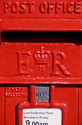 AE2CJ8 Detail red British pillar post box