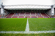 General view inside Tynecastle Park, Edinburgh, Scotland before the Ladbrokes Scottish Premiership match between Heart of Midlothian and Rangers FC on 20 October 2019.
