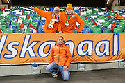 Netherlands fans ahead of the UEFA European 2020 Qualifier match between Northern Ireland and Netherlands at National Football Stadium, Windsor Park, Northern Ireland on 16 November 2019.