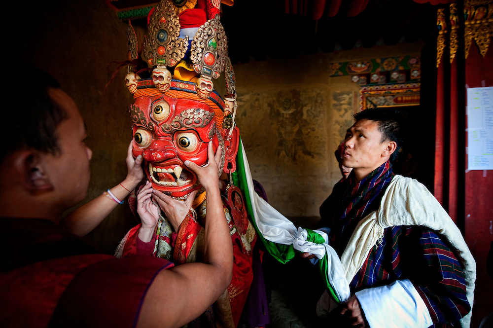 Asia, Tibet, Bhutan, Phobjikha, valley, Gangte, monastery, actor, actors, performer, performers, monk, monks, mask, cham, tsechu
