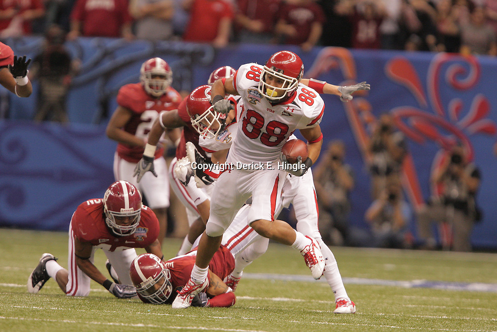 2 January 2009: Utah wide receiver Freddie Brown (88) runs after a catch as Alabama cornerback Justin Woodall (27) trips him up during a 31-17 win by the Utah Utes over the Alabama Crimson Tide in the 75th annual Allstate Sugar Bowl at the Louisiana Superdome in New Orleans, LA.