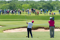May 12, 2019 - Dallas, TX, U.S. - DALLAS, TX - MAY 12: Sebastián Muñoz hits his approach to #6 during the final round of the AT&T Byron Nelson on May 12, 2019 at Trinity Forest Golf Club in Dallas, TX. (Photo by Andrew Dieb/Icon Sportswire) (Credit Image: © Andrew Dieb/Icon SMI via ZUMA Press)