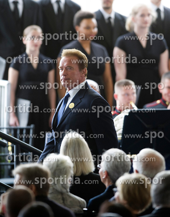 Former Governor of U.S. California Arnold Schwarzenegger attends the funeral of former U.S. First Lady Nancy Reagan at the Ronald Reagan Presidential Library in Simi Valley, California, March 11, 2016. Nancy Reagan's funeral was held here on Friday morning. She died of heart failure last Sunday at the age of 94. EXPA Pictures &copy; 2016, PhotoCredit: EXPA/ Photoshot/ Yang Lei<br /> <br /> *****ATTENTION - for AUT, SLO, CRO, SRB, BIH, MAZ, SUI only*****