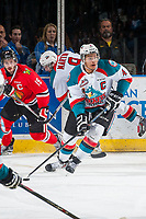 KELOWNA, CANADA - MAY 1: Madison Bowey #4 of Kelowna Rockets skates with the puck against the Portland Winterhawks on May 1, 2015 at Prospera Place in Kelowna, British Columbia, Canada.  (Photo by Marissa Baecker/Getty Images)  *** Local Caption *** Madison Bowey;