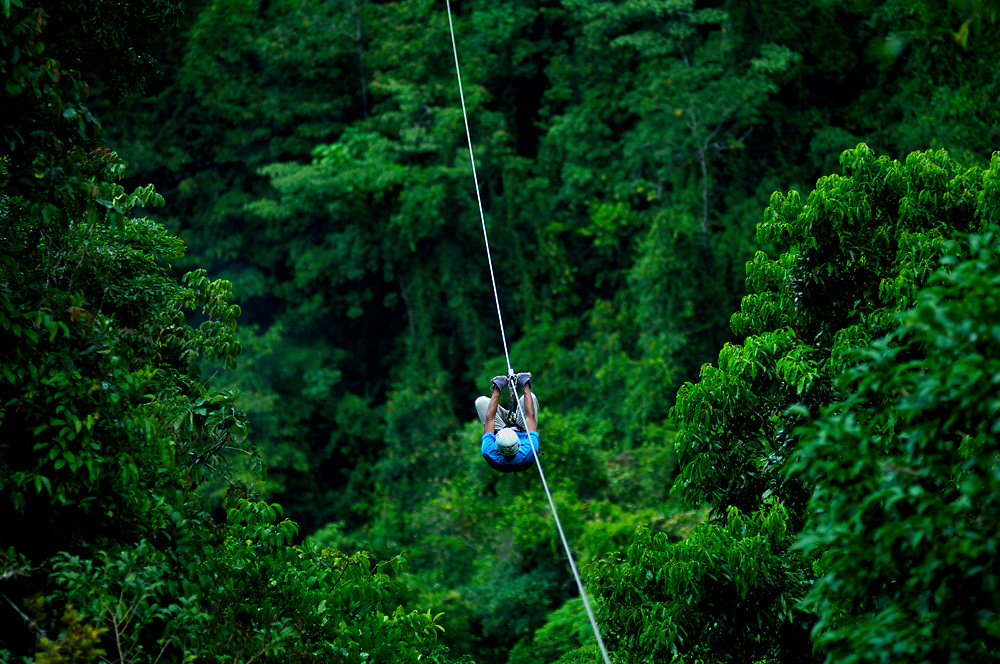 Costa Rica, El Castillo, Tourist Rides The Canopy Zip Line Tour, Rainforest, Arenal