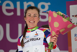 Lisa Klein (GER) of Cervélo-Bigla Cycling Team retains the white jersey as the leader of the Young Rider Classification after Stage 2 of the Healthy Ageing Tour - a 19.6 km team time trial, starting and finishing in Baflo on April 6, 2017, in Groeningen, Netherlands.