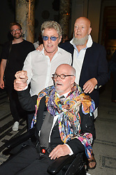 Left to right, ROGER DALTREY, ALAN ALDRIDGE and MICHAEL EAVIS at a private view of Revolution: Records and Rebels 1966-1970 at the V&A, London on 7th September 2016.