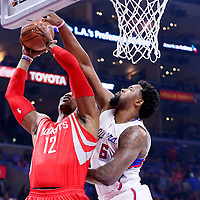 14 May 2015: Houston Rockets center Dwight Howard (12) is blocked by Los Angeles Clippers center DeAndre Jordan (6) during the Houston Rockets 119-107 victory over the Los Angeles Clippers, in game 6 of the Western Conference semifinals, at the Staples Center, Los Angeles, California, USA.