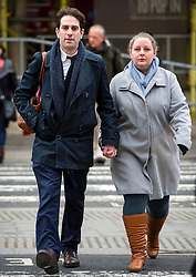 "© Licensed to London News Pictures. 29/01/2016. London, UK. Heterosexual couple CHARLES KEIDAN and REBECCA STEINFELD arrive at the Royal Courts of Justice in London, where a judge is due to rule if they can enter into a civil partnership rather than marriage. The couple, who are both academics and live in London, argue that the Government's position on civil partnerships is ""incompatible with equality law"".  Photo credit: Ben Cawthra/LNP"