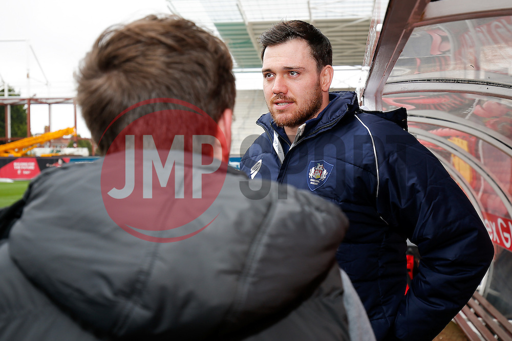 Spectrum Disability Journalism Students interview Glen Townson of Bristol Rugby at Ashton Gate - Photo mandatory by-line: Rogan Thomson/JMP - 07966 386802 - 29/03/2015 - SPORT - Rugby Union - Bristol, England - Ashton Gate Stadium - Bristol Rugby v Bedford Blues - Greene King IPA Championship.