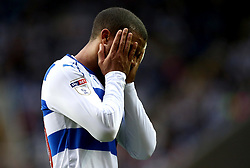 Lewis Grabban of Reading holds his head in his hands - Mandatory by-line: Robbie Stephenson/JMP - 16/05/2017 - FOOTBALL - Madejski Stadium - Reading, England - Reading v Fulham - Sky Bet Championship Play-off Semi-Final 2nd Leg