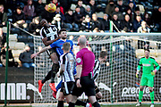 Notts County's Shola Ameobi(9) wins a header during the EFL Sky Bet League 2 match between Notts County and Stevenage at Meadow Lane, Nottingham, England on 24 February 2018. Picture by Nigel Cole.