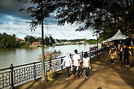 taking a stroll along the Sarawak River in Kuching