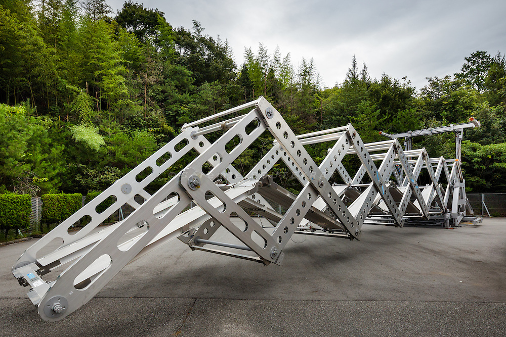 Higashi-Hiroshima, September 7 2015 - Demonstration of the Mobile bridge V4, an emergency expandable bridge by Professor Ichiro ARIO at Hiroshima University.