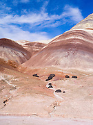 The colorful Bentonite Hills near Hanksville, Utah.