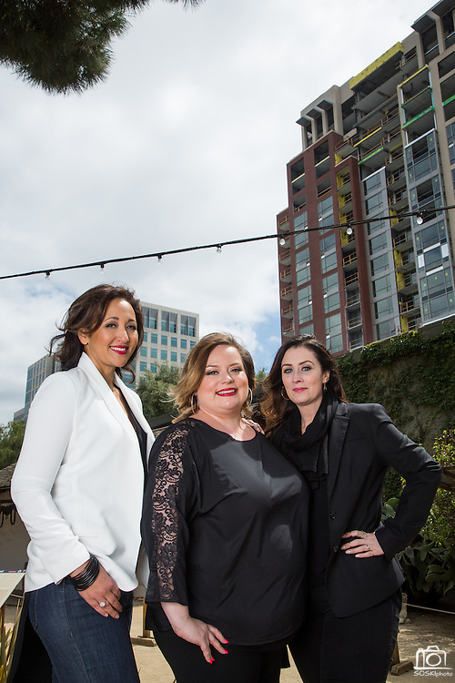 Clever Girls Collective Founders, Stefania Pomponi, Kristy Sammis, and Cat Lincoln (from left to right), pose for a portrait at San Pedro Square Market in San Jose, California, on May 18, 2015. (Stan Olszewski/SOSKIphoto)