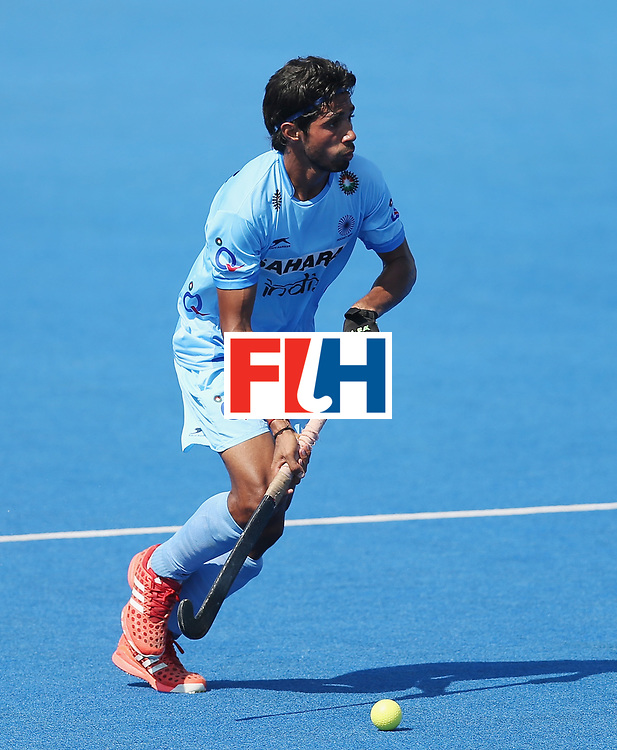 LONDON, ENGLAND - JUNE 20:  Pardeep Mor of India during the Pool B match between India and the Netherlands on day six of the Hero Hockey World League Semi-Final at Lee Valley Hockey and Tennis Centre on June 20, 2017 in London, England.  (Photo by Alex Morton/Getty Images)