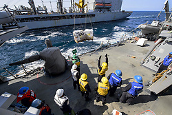 Apr 27, 2017 - Sea of Japan - Receiving Supplies. Sailors aboard the guided-missile destroyer USS Fitzgerald conduct a replenishment at sea with the fleet replenishment oiler USNS Pecos in the Sea of Japan, April 27, 2017. The Fitzgerald is on patrol in the U.S. 7th Fleet area of operations supporting security and stability in the Indo-Asia-Pacific region. Navy photo by Petty Officer 2nd Class William McCann. (Credit Image: ? William McCann/Navy/DoD via ZUMA Wire/ZUMAPRESS.com)
