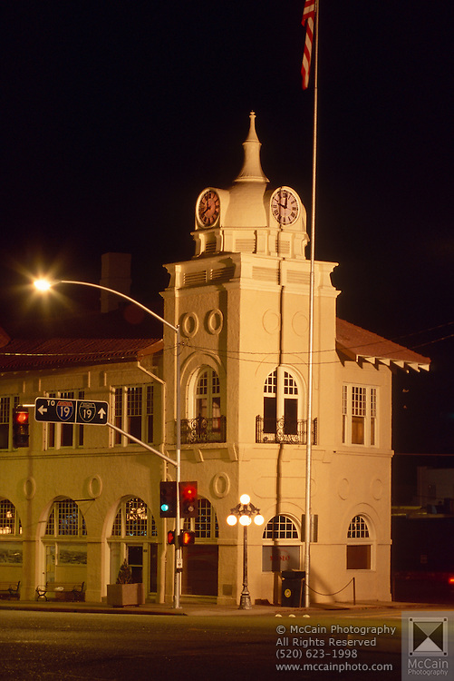 Pimeria Alta Historical Museum at night, Nogales, Arizona. .Pimeria Alta Museum, the Old Town Hall, located at 136 North Grand Avenue. In 1914, the Nogales Volunteer fire Department pitched in and built the Old Town Hall on Grand Avenue, which is now home to many historic treasures. Designed by the renowned Tucson architect Henry O. Jaastad, the building was constructed with all of the amenities-steam heat, sewer, electricity, and running water. The entire ground floor can be explored. ..Subject photograph(s) are copyright Edward McCain. All rights are reserved except those specifically granted by Edward McCain in writing prior to publication..McCain Photography.211 S 4th Avenue.Tucson, AZ 85701-2103.(520) 623-1998.mobile: (520) 990-0999.fax: (520) 623-1190.http://www.mccainphoto.com.edward@mccainphoto.com.