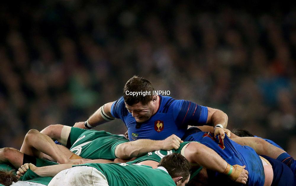 RBS 6 Nations Championship, Aviva Stadium, Dublin 14/2/2015<br /> Ireland vs France <br /> France's Benjamin Kayser in a scrum<br /> Mandatory Credit &copy;INPHO/James Crombie