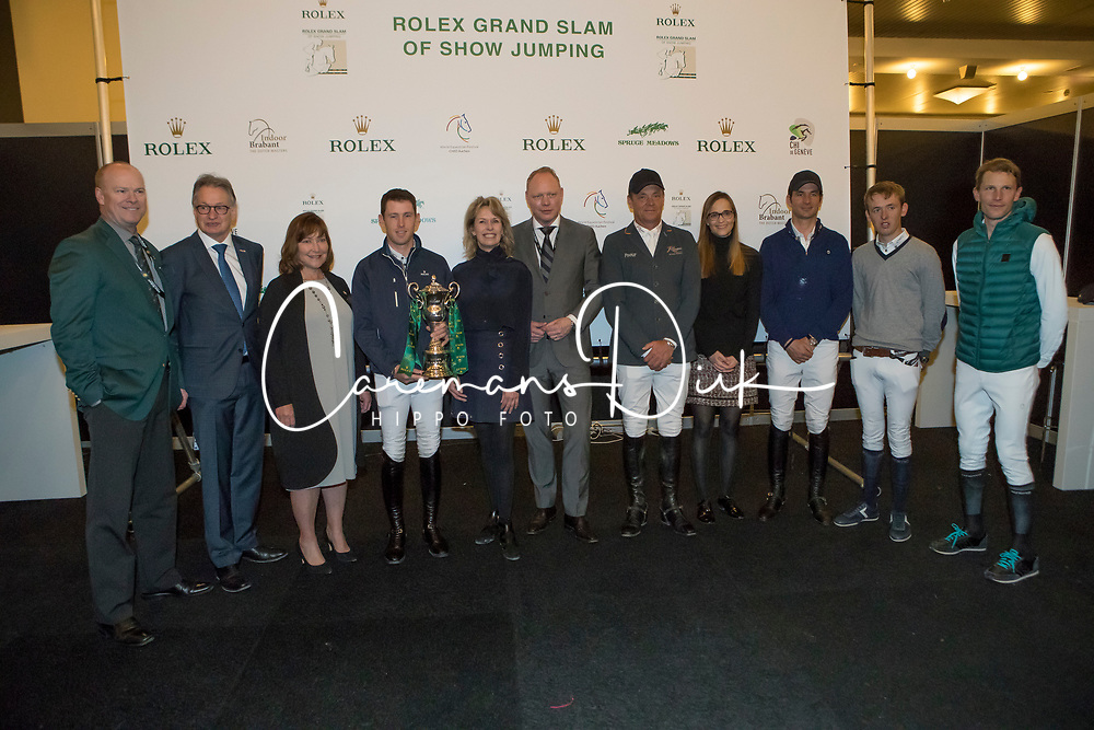 The organizers of the Rolex Grand Slam of Showjumping<br /> In the picture : Ian Allison, Show director Spruce Meadows, Spruce Meadows, Frank Kemperman, show director Aachen, Linda Southern-Heathcott, President of the Steering Committee of the Rolex Grand Slam of Show Jumping, Scott Brash, Anky Van Grunsven, President Indoor Brabant, Marcel Hunze, Event Director Indoor Brabant, Jeroen Dubbeldam, Sophie Mottu-Morel, Directrice Geneve, Steve Guerdat, Bertram Allen, Keen Staut <br /> Indoor Brabant - Den Bosch 2017<br /> © Dirk Caremans<br /> 12/03/2017