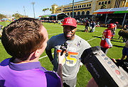 Jan 24, 2018; Kissimmee, FL, USA; Baltimore Ravens linebacker Terrell Suggs talks with a reporter after practice for the 2018 Pro Bowl at ESPN Wide World of Sports Complex. (Steve Jacobson/Image of Sport)